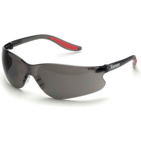 Elvex® Xenon™ Safety Glasses SG-14G, Gray HC Lens, Black Frame/Red Tips, 12/Pack