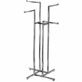 4-Way w/ 2 Straight and 2 Slant Arms (R12) Garment Rack - Square Tubing - Chrome