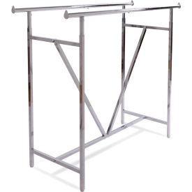 Heavy Duty Double Bar Garment Rack (K41) w/ V-Brace - Chrome
