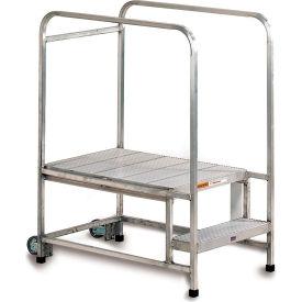 "EGA Mobile Aluminum Work Platform 2-Step Ribbed w/30"" Handrails, 300Lb Capacity - A001H"