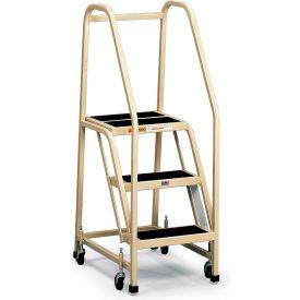 EGA Office Ladder 3-Step Rubber Surface, Gray 450Lb. Capacity - F013