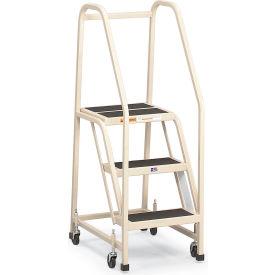 "EGA Steel Office Ladder 4-Step, 16"" Wide Vinyl Covered, Black, 450 lb. Cap. - F023"