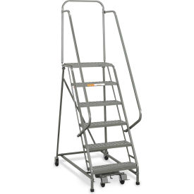 "EGA Industrial Rolling Ladder 6-Step 20"" Wide Perforated, Gray 450Lb. Capacity - L008"