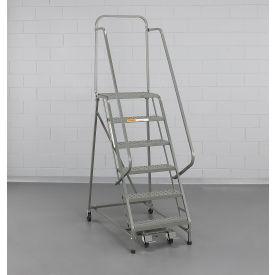 "EGA Steel Industrial Rolling Ladder 3-Step, 24"" Wide Perforated, Gray, 450 lb. Cap. - L022"