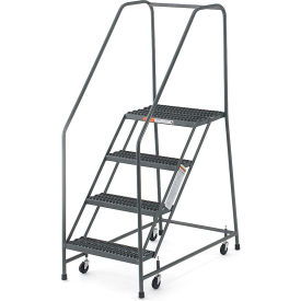 "EGA Steel EZY-Climb Ladder w/ Handrails 4-Step, 16"" Wide Grip Strut, Gray, 450 lb. Cap. - R030"