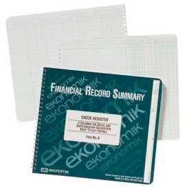 "Ekonomik® Check Register Book, 3 Columns, 10"" x 8-3/4"", White, 1 Each"