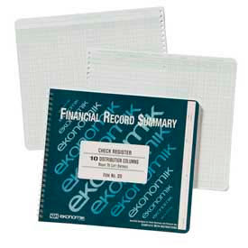 "Ekonomik® Wirebound Check Registers Accounting System, 8-3/4"" x 10"", 40 Sheets/Pad"