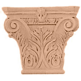 "Ekena Small Floral Roman Corinthian Capital CAP06X02X05FLMA, 6-1/4""W x 4-3/8""BW x 2-1/4""D x 5-5/8""H"
