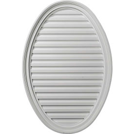 "Ekena Horizontal Oval Gable Vent Louver W/ Flat Trim & Keystones GVOV29X20D, 29""W x 20""H, Decorative"
