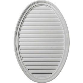 "Ekena Horizontal Oval Gable Vent Louver W/ Flat Trim & Keystones GVOV29X20D, 29""W x 20""H, Decorative"