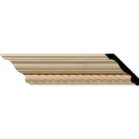 "Ekena Andrea Rope Carved Wood Crown Moulding MLD02X02X03ADAL, 2-1/4""H x 2-3/8""D x 3-1/4""F x 96""L"