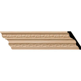 "Ekena Bedford Carved Wood Crown Moulding MLD03X02X03BEMA, 3""H x 2-1/4""D x 3-1/4""F x 96""L"