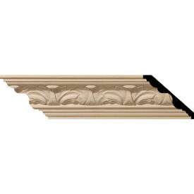 "Ekena Acanthus Leaf Carved Wood Crown Moulding MLD03X03X05ACCH, 3-3/8""H x 3-3/4""D x 5""F x 96""L"