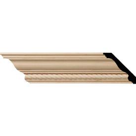 "Ekena Andrea Rope Carved Wood Crown Moulding MLD03X03X05ADMA, 3-1/2""H x 3-5/8""D x 5""F x 96""L"
