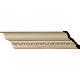 "Ekena Lanarkshire Carved Wood Crown Moulding MLD04X04X06LAAL, 4-7/8""H x 4-3/4""D x 6-3/4""F x 96""L"