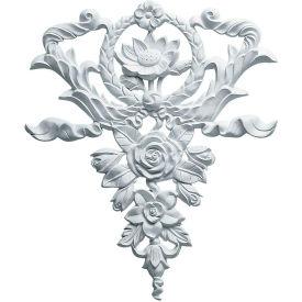 "Ekena Large Flower And Wreath Drop Onlay ONL10X12X01FL, 10-5/8""W x 12-5/8""H x 3/4""D"