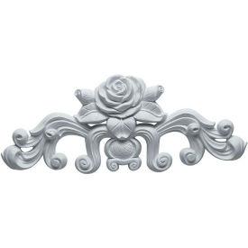 """Ekena Nadia Decorative Rose Center W/Scrolls Onlay ONL13X05X01NA, 13-3/4""""W x 5-1/2""""H x 1""""D"""