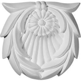 """Ekena Shell W/Leaves Rosette ROS03X03X01SH, 3-1/8""""W x 3-1/8""""H x 5/8""""D"""