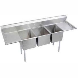 """Elkay 14-3C16X20-2-18X NSF Sink, 3-Compartment w/16""""L x 20""""W Bowl, 14"""" Deep, (2) 18"""" Drainboards"""