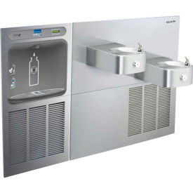 Elkay EZWS-SS28K EZH2O Water Bottle Refilling Station W/Soft Sides Bi-Level Fountain, Refrig, SS