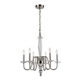 "ELK 44000/6 6 Light Chandelier, Chrome And Clear Crystal Center Colum, 24""W x 26""H"