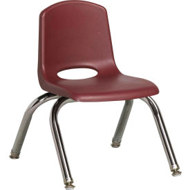 "10"" Stack Chair-Chrome Burgundy Top Chrome Legs W/ Glide, Priced Ea, Sold 6/PK - Pkg Qty 6"
