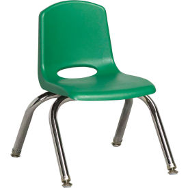 "10"" Stack Chair-Chrome Green Top Chrome Legs W/ Glide, Priced Ea, Sold 6/PK - Pkg Qty 6"