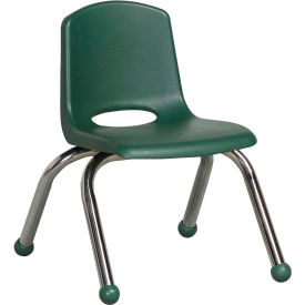 "10"" Stack Chair-Chrome Hunter Green Top Chrome Legs, Priced Ea, Sold 6/PK - Pkg Qty 6"