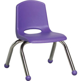 "10"" Stack Chair-Chrome Purple Top Chrome Legs, Priced Ea, Sold 6/PK - Pkg Qty 6"
