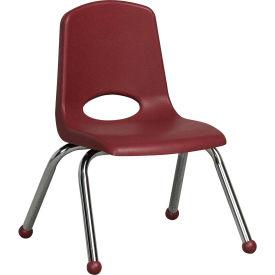 "12"" Stack Chair-Chrome Burgundy Top Chrome Legs, Priced Ea, Sold 6/PK - Pkg Qty 6"