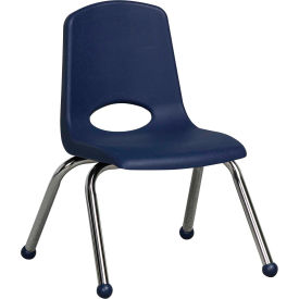 """12"""" Stack Chair-Chrome Navy Top Chrome Legs, Priced Ea, Sold 6/PK - Pkg Qty 6"""