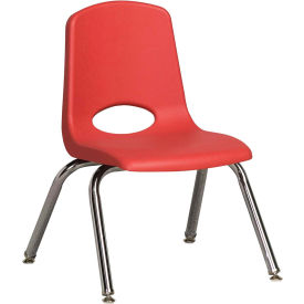 """12"""" Stack Chair-Chrome-Red Top Chrome Legs W/ Glide, Priced Ea, Sold 6/PK - Pkg Qty 6"""