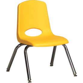 "12"" Stack Chair-Chrome-Yellow Top Chrome Legs W/ Glide, Priced Ea, Sold 6/PK - Pkg Qty 6"