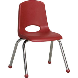 "14"" Stack Chair / Chrome-Burgundy Top Chrome Legs, Priced Ea, Sold 6/PK - Pkg Qty 6"