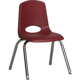 "14"" Stack Chair-Chrome-Burgundy Top Chrome Legs W/ Glide, Priced Ea, Sold 6/PK - Pkg Qty 6"