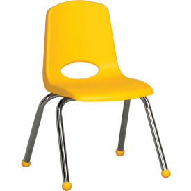 "14"" Stack Chair-Chrome-Yellow Top Chrome Legs, Priced Ea, Sold 6/PK - Pkg Qty 6"