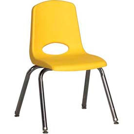 "14"" Stack Chair-Chrome-Yellow Top Chrome Legs W/ Glide, Priced Ea, Sold 6/PK - Pkg Qty 6"