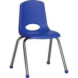 "16"" Stack Chair-Chrome-Blue Top Chrome Legs, Priced Ea, Sold 6/PK - Pkg Qty 6"