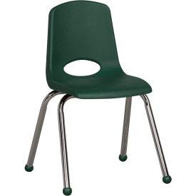 "ECR4Kids Classroom Stack Chair - 16"" - Hunter Green - Pkg Qty 6"