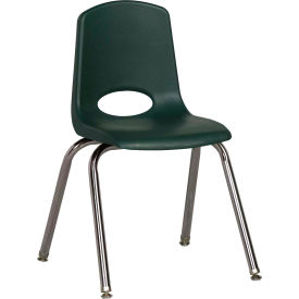 "ECR4Kids Classroom Stack Chair with Feet Glides - 16"" - Hunter Green - Pkg Qty 6"