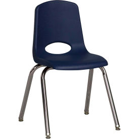 "ECR4Kids Classroom Stack Chair with Feet Glides - 16"" - Navy - Pkg Qty 6"
