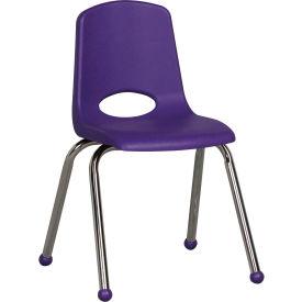 "16"" Stack Chair-Chrome-Purple Top Chrome Legs, Priced Ea, Sold 6/PK - Pkg Qty 6"
