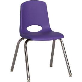 "16"" Stack Chair-Chrome-Purple Top Chrome Legs W/ Glide, Priced Ea, Sold 6/PK - Pkg Qty 6"