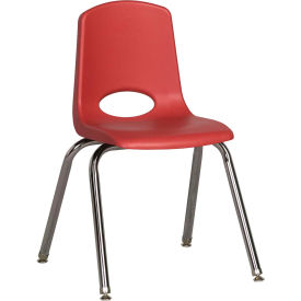 "16"" Stack Chair-Chrome-Red Top Chrome Legs W/ Glide, Priced Ea, Sold 6/PK - Pkg Qty 6"