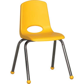 """16"""" Stack Chair-Chrome-Yellow Top Chrome Legs, Priced Ea, Sold 6/PK - Pkg Qty 6"""