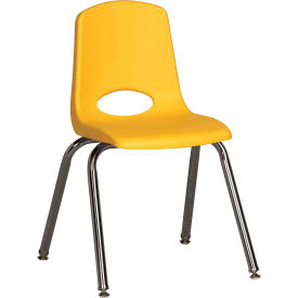 """16"""" Stack Chair-Chrome-Yellow Top Chrome Legs W/ Glide, Priced Ea, Sold 6/PK - Pkg Qty 6"""