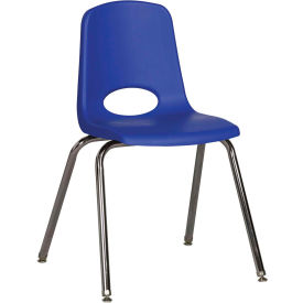 "18"" Stack Chair-Chrome-Blue Top Chrome Legs W/ Glide, Priced Ea, Sold 5/PK - Pkg Qty 5"