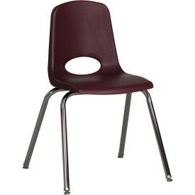 "ECR4Kids Classroom Stack Chair - 18"" - Burgundy - Pkg Qty 5"