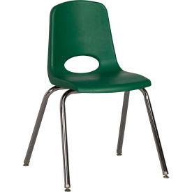 "18"" Stack Chair-Chrome-Green Top Chrome Legs W/ Glide, Priced Ea, Sold 5/PK - Pkg Qty 5"
