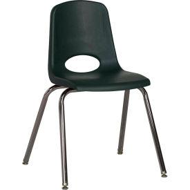 "18"" Stack Chair-Chrome-Hunter Green Top Chrome Legs W/ Glide, Priced Ea, Sold 5/PK - Pkg Qty 5"
